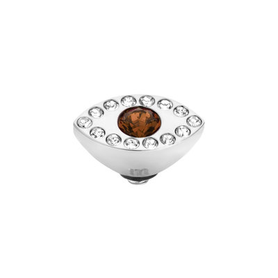 Melano Twisted Eye Meddy Edelstaal Zilverkleurig Zirkonia Coffee