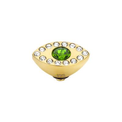Melano Twisted Eye Meddy Edelstaal Goudkleurig Zirkonia Emerald Green