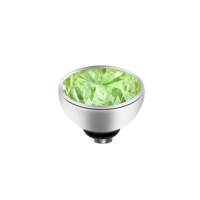 Melano Twisted Meddy Zirkonia Edelstaal Zilverkleurig  Aqua Green