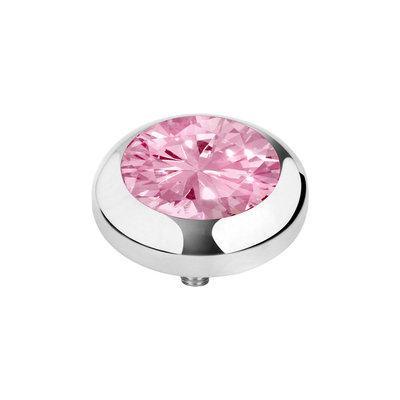 Melano Vivid Zirkonia Meddy Edelstaal Zilverkleurig Blossom Pink