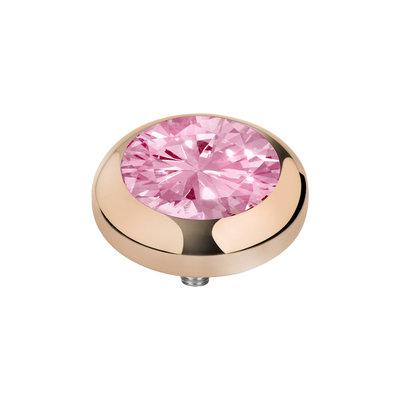 Melano Vivid Zirkonia Meddy Edelstaal Rose Goudkleurig Blossom Pink