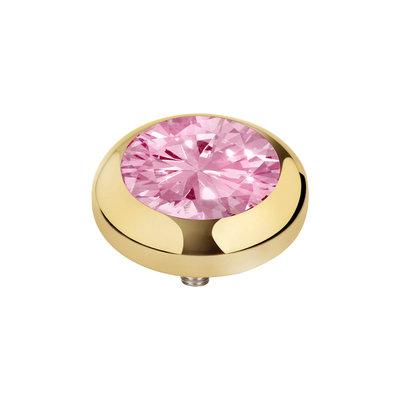 Melano Vivid Zirkonia Meddy Edelstaal Goudkleurig Blossom Pink