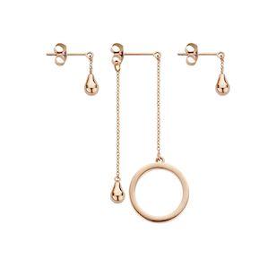 Melano Friends Ring & Teardrop Earring Rose Goudkleurig