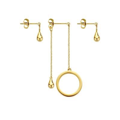 Melano Friends Ring & Teardrop Earring Goudkleurig