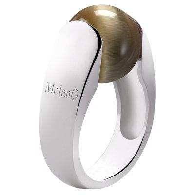 Melano 2de Kans Cat Ring 12mm Zilver Maat 53 inclusief bruin Cateye Balletje