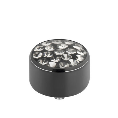 Melano Sturdy Meddy Multi Zirkonia Transparant Black Edelstaal Zwart 8mm