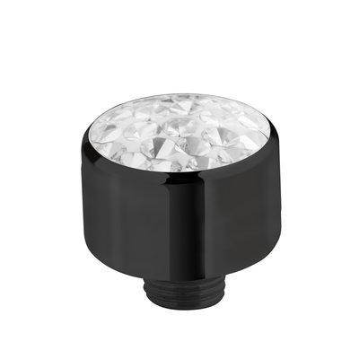 Melano Sturdy Meddy Multi Zirkonia Crystal Edelstaal Zwart 8mm
