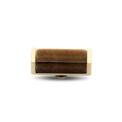 Melano Twisted Meddy Bar Goudkleurig Yellow Tigereye 12mm