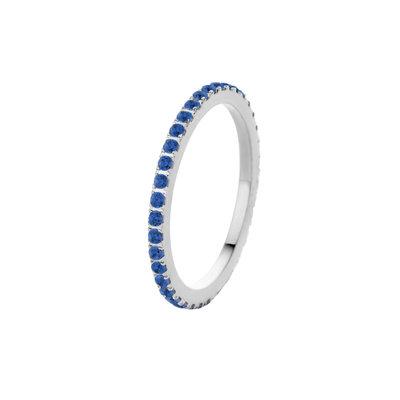 Melano Friends Ring Sade Zilverkleurig Zirkonia Jeans Blue