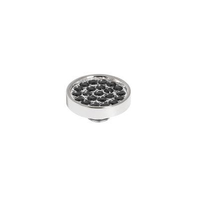 Melano Vivid Meddy 12mm  Zilverkleurig Zirkonia Black