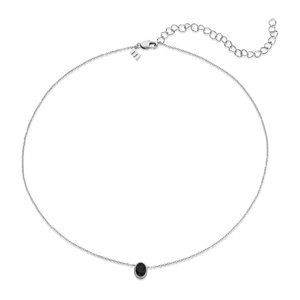 Melano Friends Ketting Oval Zilverkleurig Swarovski Black
