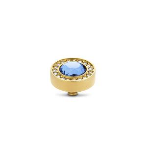 Melano Twisted Halo CZ steentje goudkleurig - Light Sapphire