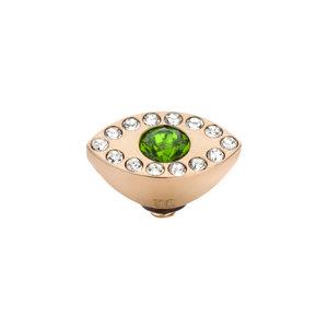 Melano Twisted Eye Meddy Edelstaal Rose Goudkleurig Zirkonia Emerald Green