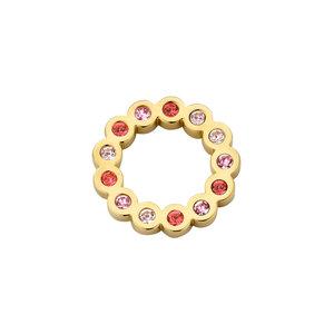 Melano Friends Hanger Jessie Edelstaal Goudkleurig Zirkonia Rose 15mm