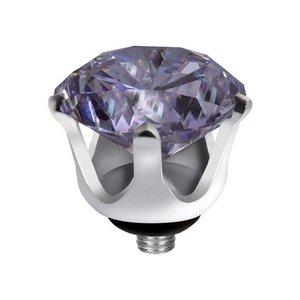 Melano Twisted Crown Edelstaal Meddy Zilverkleurig Lavendel