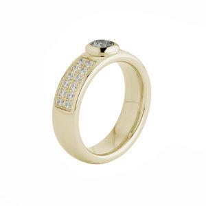 Melano Vivid Edelstaal Ring Goudkleurig Vicky Zirkonia Crystal 6mm breed